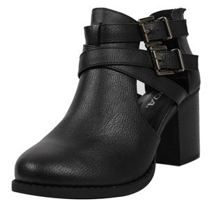 Shoes - Black Cutout Double Buckle Block Heel Ankle Boot